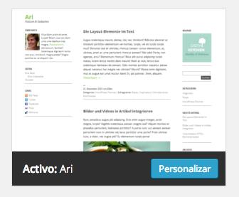 """Captura del tema elegido para el blog, """"Ari"""""""