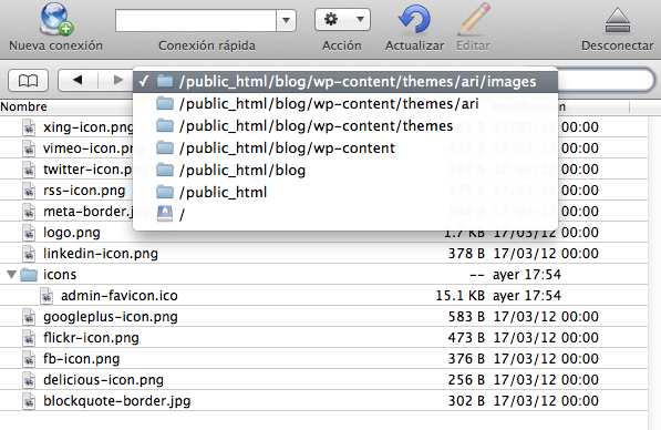Captura que muestra la ruta hasta llegar a /images/